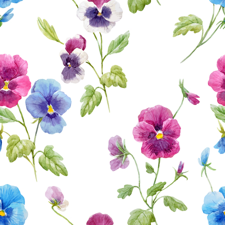 Watercolor pansy flower vector pattern Stock fotó - 93163905