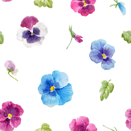 Pattern with watercolor pansy flowers and leaves.