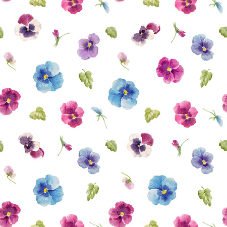 Watercolor pansy flower seamless  vector pattern illustration.