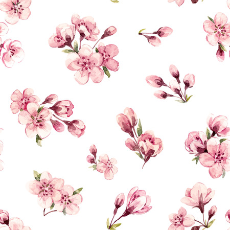 Watercolor spring floral vector pattern
