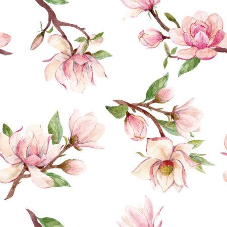 Watercolor magnolia floral vector pattern