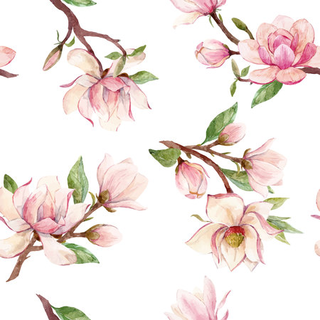 Watercolor magnolia floral vector pattern Reklamní fotografie - 93452725