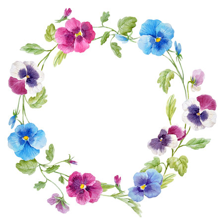 Watercolor pansy flower wreath 免版税图像