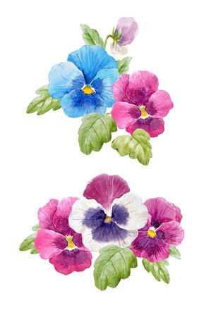 Watercolor pansy flower set Stock fotó - 93451860