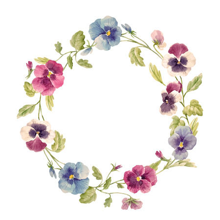 Watercolor pansy flower vector wreath Illustration