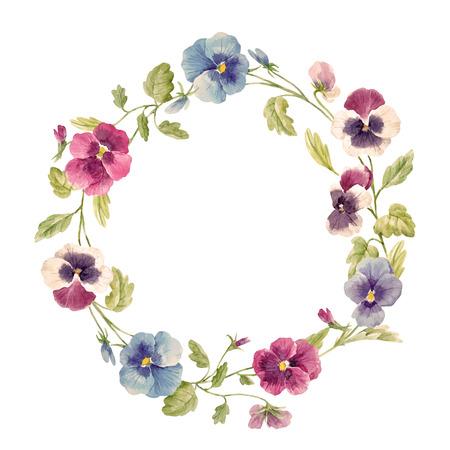 Watercolor pansy flower vector wreath Vectores