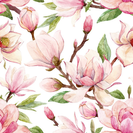Beautiful vector seamless pattern with watercolor magnolia flowers