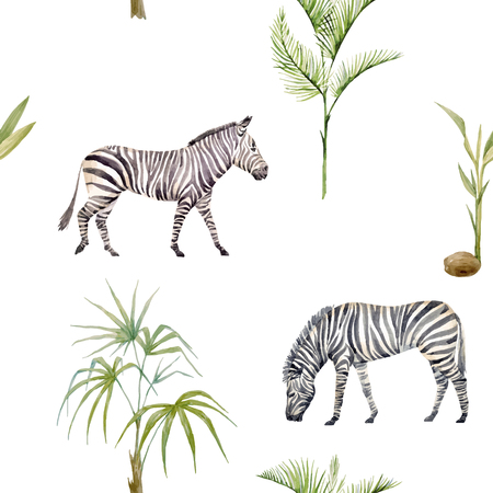 Watercolor zebra vector pattern