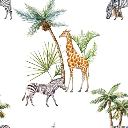 Watercolor animals pattern
