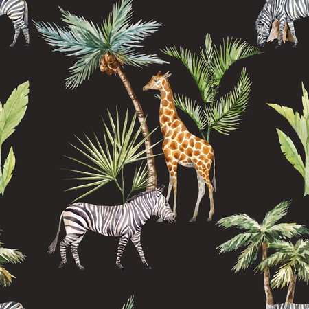 Beautiful seamlaess vector pattern with watercolor african zebra and giraffe and tropical palms