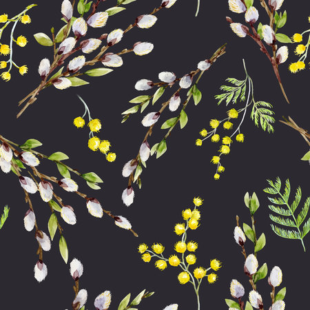 Beautiful seamless vector pattern with watercolor willow tree branches Illusztráció