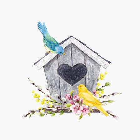 Prachtige vectorillustratie met aquarel hand getrokken vogelhuisje met vogels