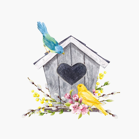 Beautiful vector illustration with watercolor hand drawn birdhouse with birds Illustration