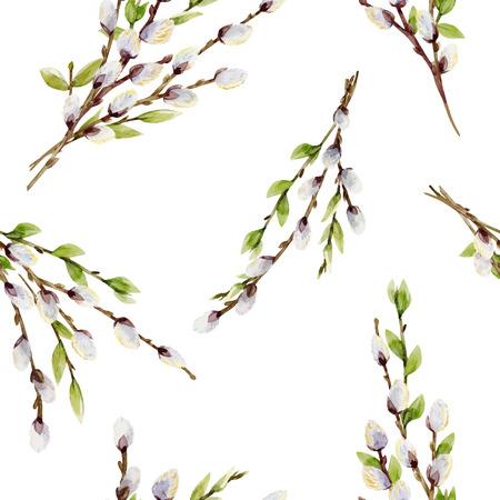 水彩画柳の枝を持つ美しいシームレスなベクトルパターン  イラスト・ベクター素材