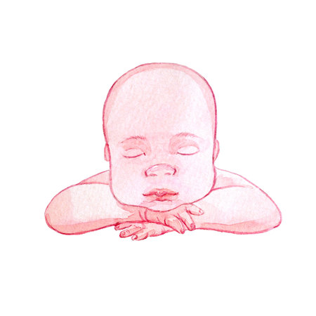 Watercolor baby illustration