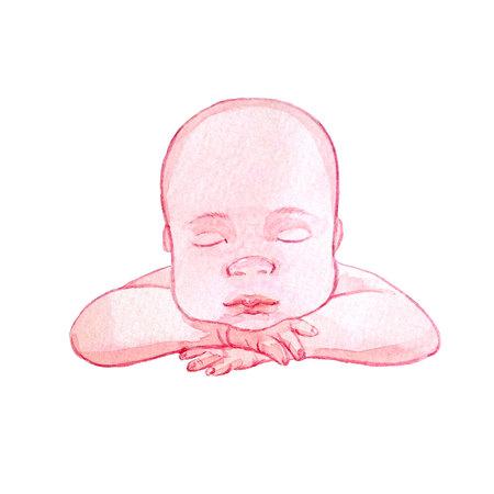 Watercolor baby illustration