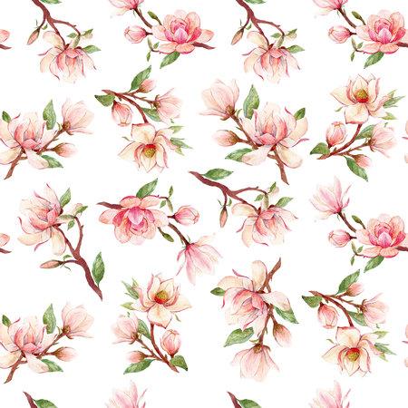 Watercolor magnolia floral pattern Banco de Imagens