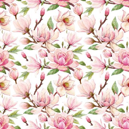 Watercolor magnolia floral pattern Standard-Bild