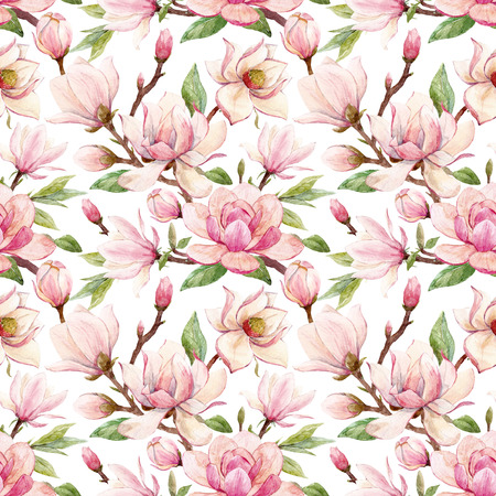 Watercolor magnolia floral pattern Stock Photo