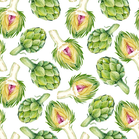 Watercolor artichoke vector pattern