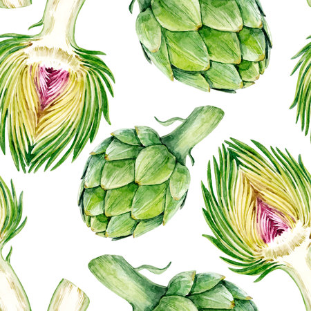 Beautiful vector seamless pattern with hand drawn watercolor artichokes  イラスト・ベクター素材