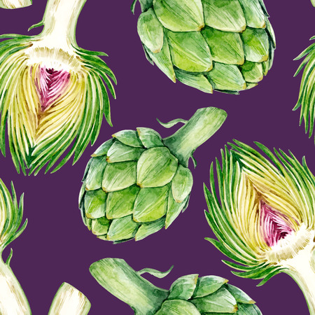 Beautiful vector seamless pattern with hand drawn watercolor artichokes. Stock Illustratie