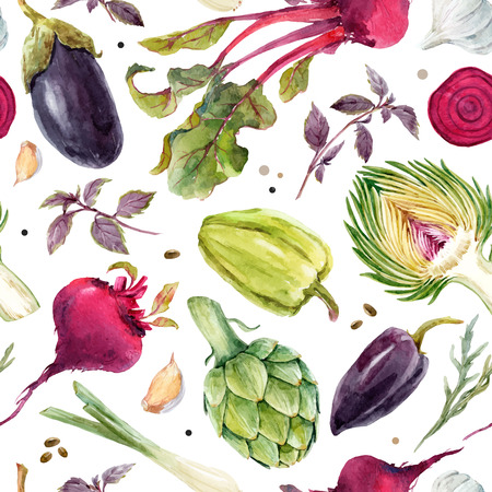 Watercolor vegetable vector pattern