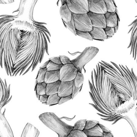 Watercolor artichoke vector pattern