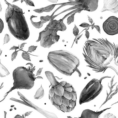 수채화 야채 벡터 패턴