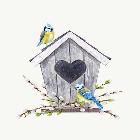Watercolor vector birdhouse with birds