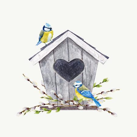 Aquarel vector vogelhuisje met vogels