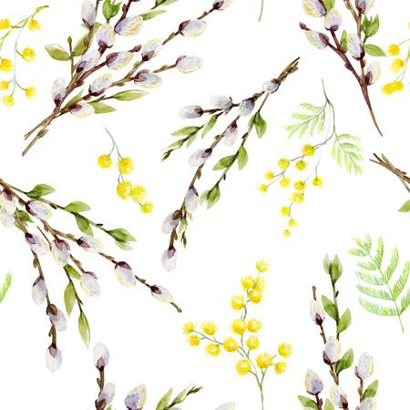 水彩ベクトル柳の木のパターン