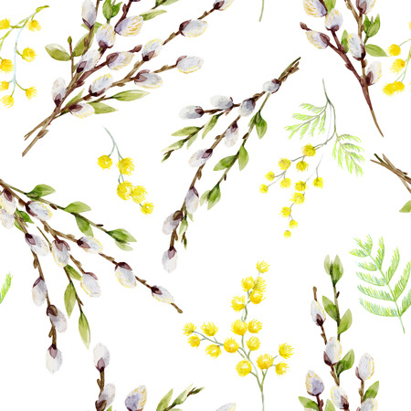 Watercolor vector willow tree pattern Illustration