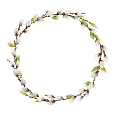 水彩柳の木の花輪