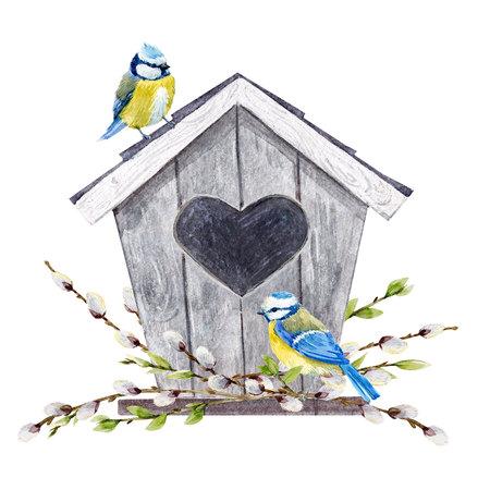 Watercolor birdhouse with birds