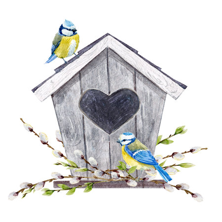 Watercolor birdhouse with birds