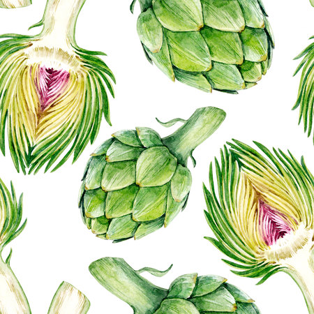 Watercolor artichoke pattern Stock Photo