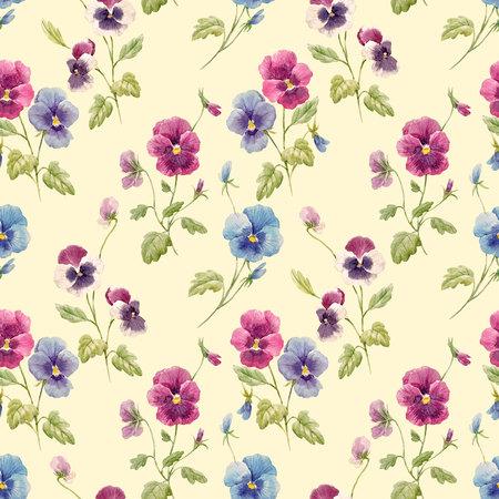 Aquarell Stiefmütterchen Blumenmuster Standard-Bild - 94258796