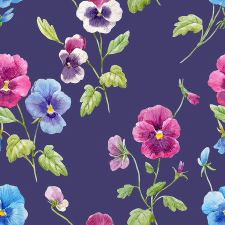 Watercolor pansy flower pattern
