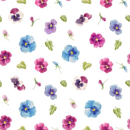 Aquarell Stiefmütterchen Blumenmuster Standard-Bild - 94289414