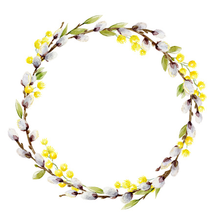 Watercolor willow tree wreath