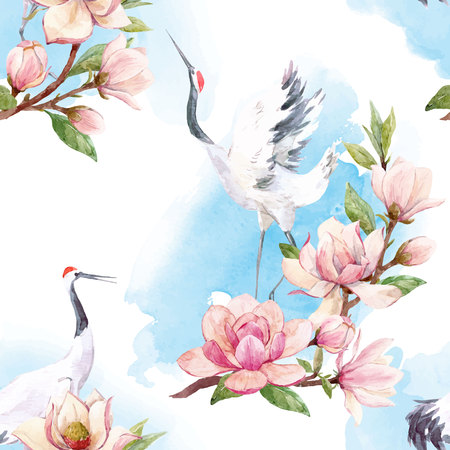 Watercolor crane vector pattern