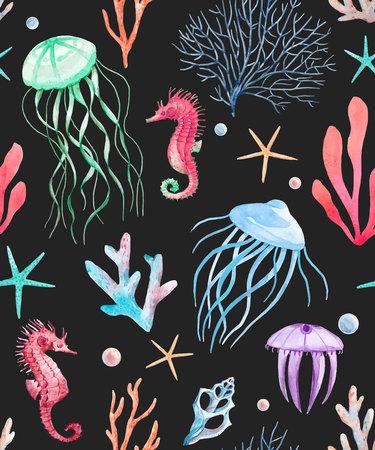 Mooi vector naadloos patroon met waterverf overzeese het levensdieren Stock Illustratie