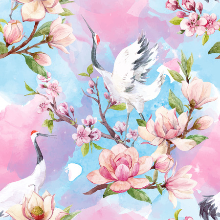 Beautiful vector seamless pattern with watercolor magnolia flowers and cranes