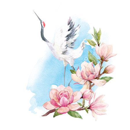 Watercolor crane composition