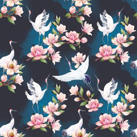 Watercolor crane pattern