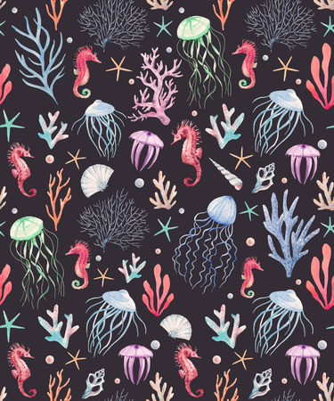 Beautiful vector seamless pattern with watercolor sea life animals
