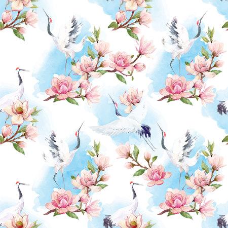 Watercolor crane vector pattern