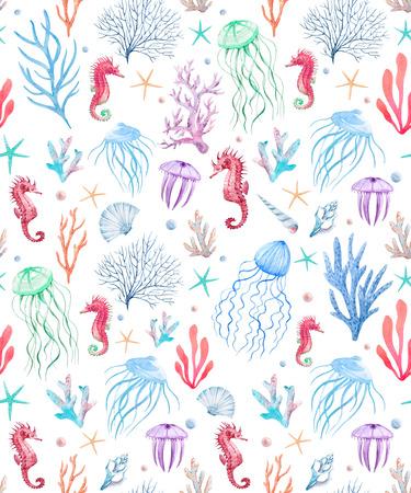Watercolor sea life pattern 写真素材