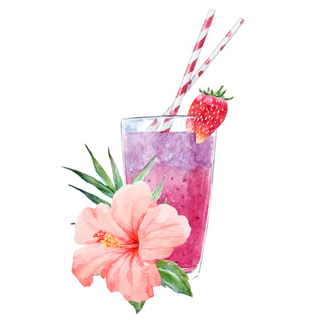 Watercolor smoothie illustration 写真素材